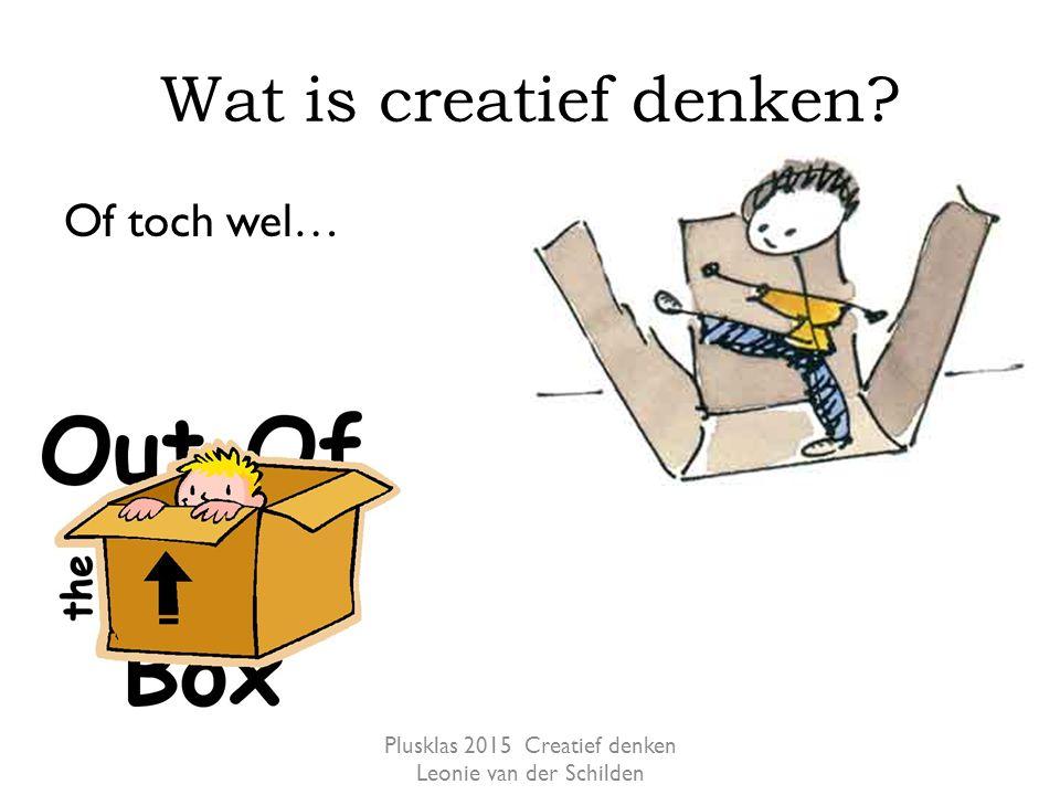 Wat is creatief denken? Of toch wel… Plusklas 2015 Creatief denken Leonie van der Schilden