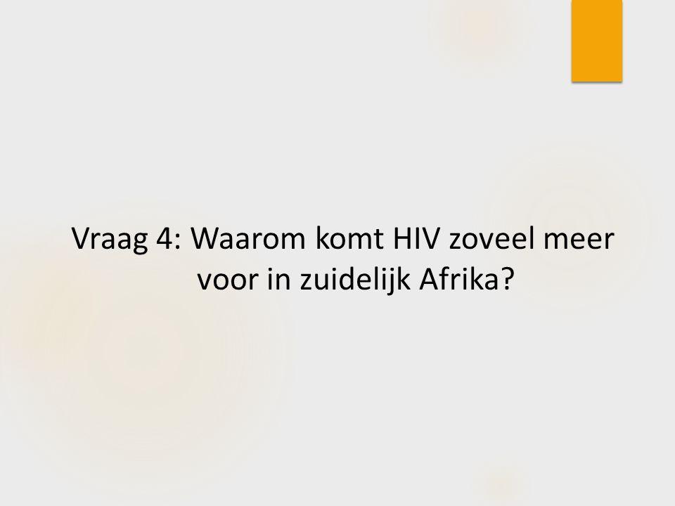 Vraag 4: Waarom komt HIV zoveel meer voor in zuidelijk Afrika