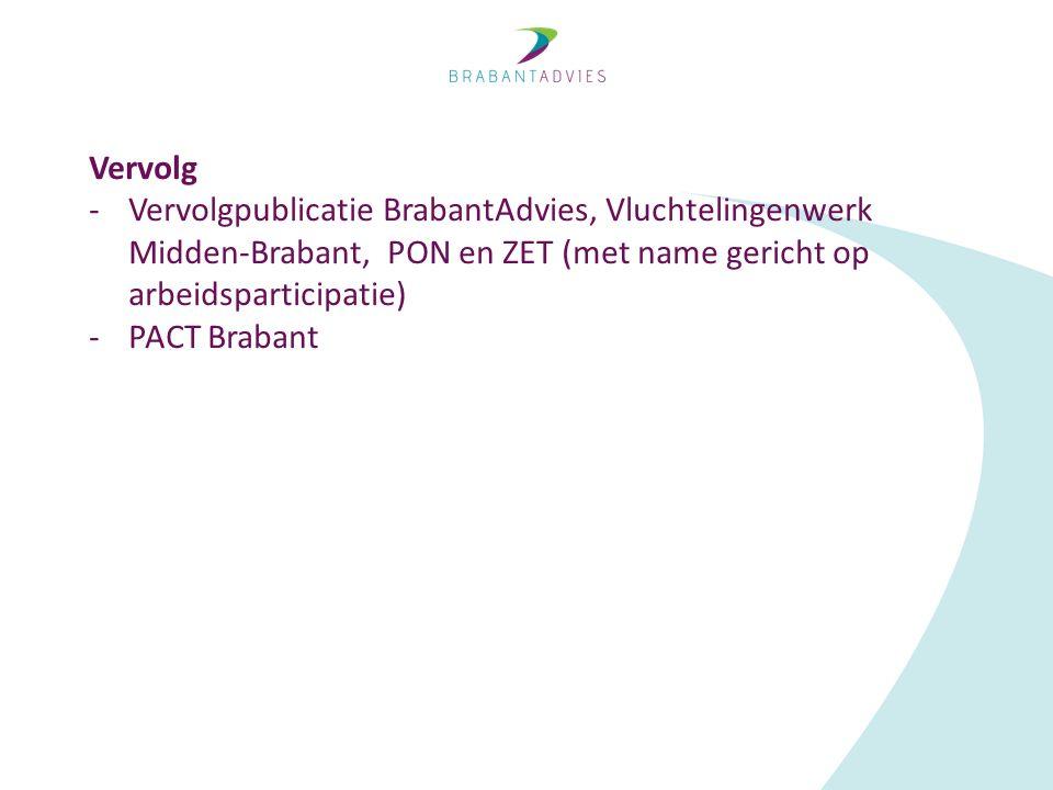 Vervolg -Vervolgpublicatie BrabantAdvies, Vluchtelingenwerk Midden-Brabant, PON en ZET (met name gericht op arbeidsparticipatie) -PACT Brabant