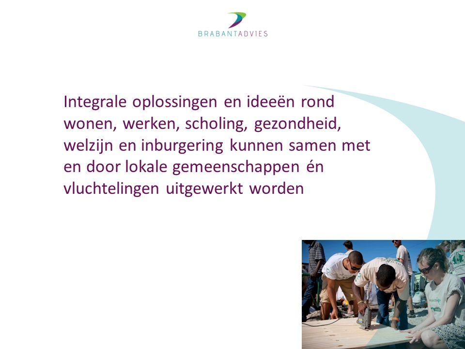 Integrale oplossingen en ideeën rond wonen, werken, scholing, gezondheid, welzijn en inburgering kunnen samen met en door lokale gemeenschappen én vluchtelingen uitgewerkt worden