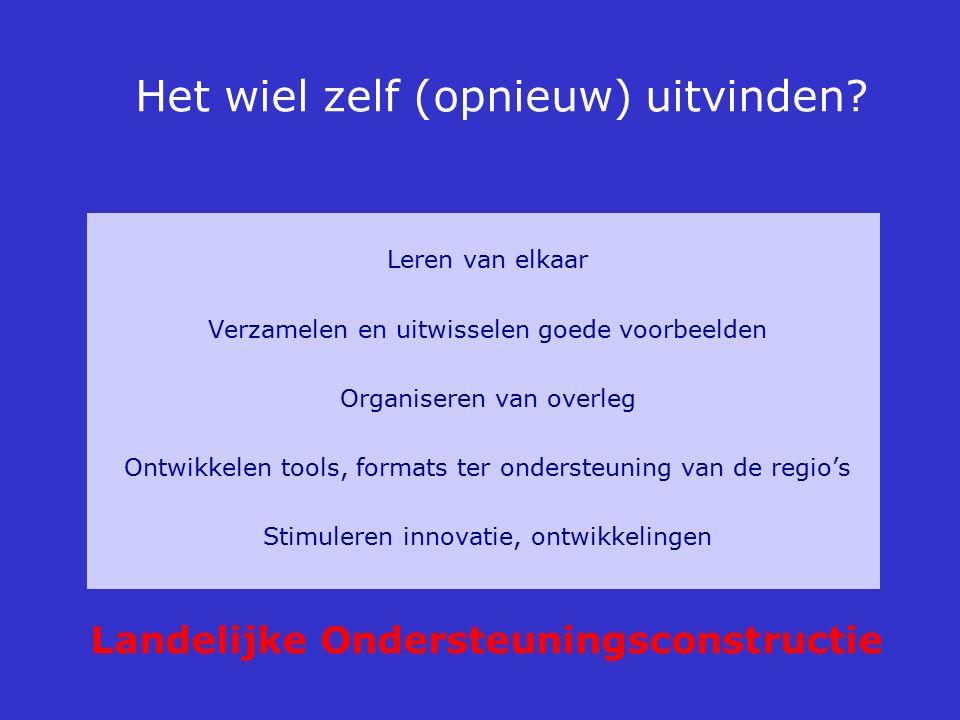 Het wiel zelf (opnieuw) uitvinden? Leren van elkaar Verzamelen en uitwisselen goede voorbeelden Organiseren van overleg Ontwikkelen tools, formats ter