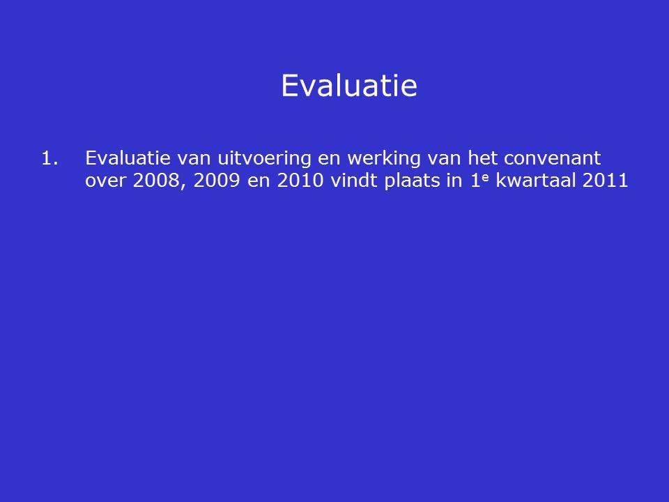 Evaluatie 1.Evaluatie van uitvoering en werking van het convenant over 2008, 2009 en 2010 vindt plaats in 1 e kwartaal 2011