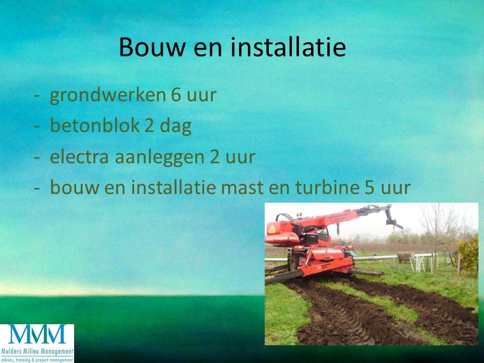 Bouw en installatie - grondwerken 6 uur - betonblok 2 dag - electra aanleggen 2 uur - bouw en installatie mast en turbine 5 uur