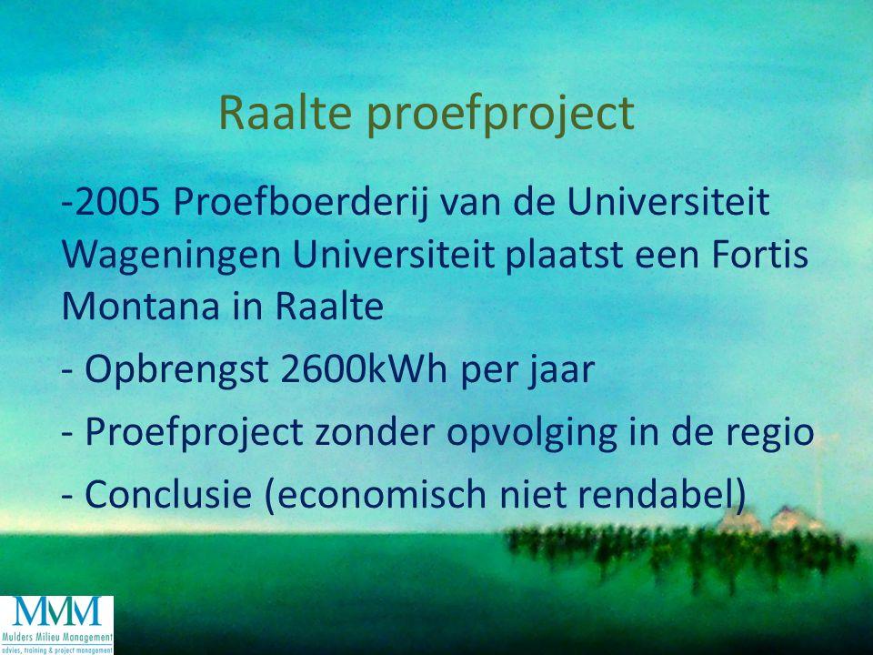Raalte proefproject -2005 Proefboerderij van de Universiteit Wageningen Universiteit plaatst een Fortis Montana in Raalte - Opbrengst 2600kWh per jaar - Proefproject zonder opvolging in de regio - Conclusie (economisch niet rendabel)