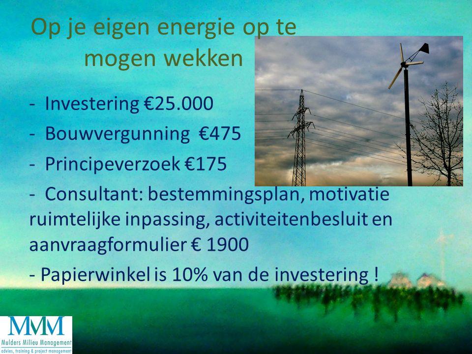 - Investering €25.000 - Bouwvergunning €475 - Principeverzoek €175 - Consultant: bestemmingsplan, motivatie ruimtelijke inpassing, activiteitenbesluit