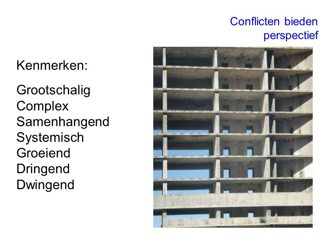 Kenmerken: Grootschalig Complex Samenhangend Systemisch Groeiend Dringend Dwingend Conflicten bieden perspectief