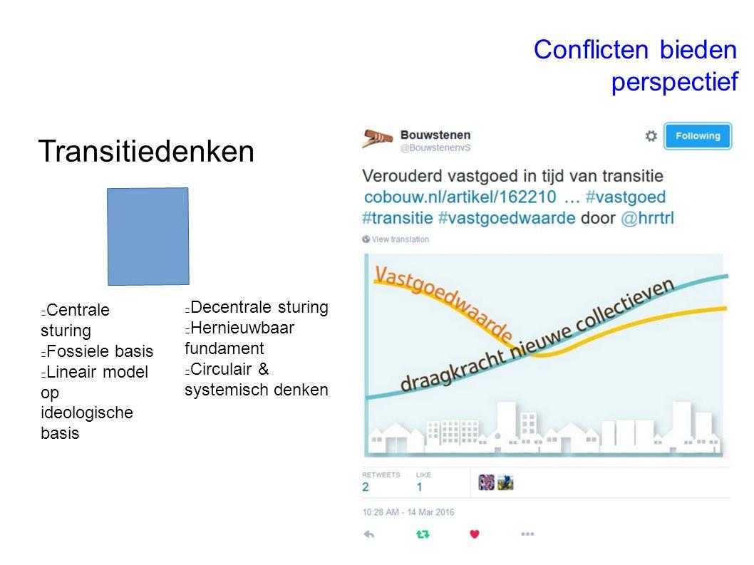 Transitiedenken Conflicten bieden perspectief Centrale sturing Fossiele basis Lineair model op ideologische basis Decentrale sturing Hernieuwbaar fundament Circulair & systemisch denken