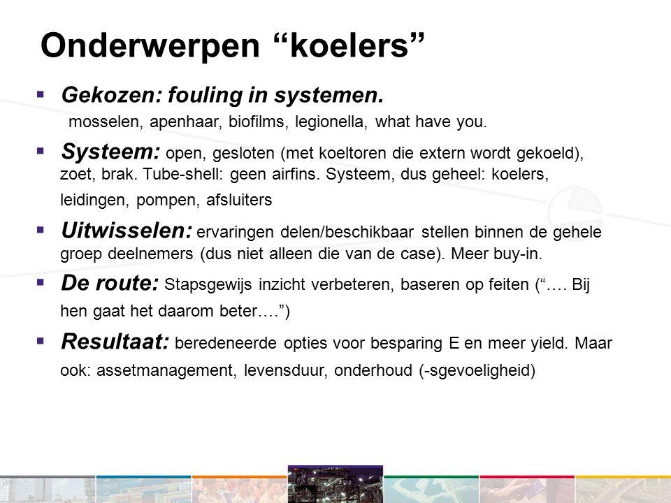 Onderwerpen koelers  Gekozen: fouling in systemen.