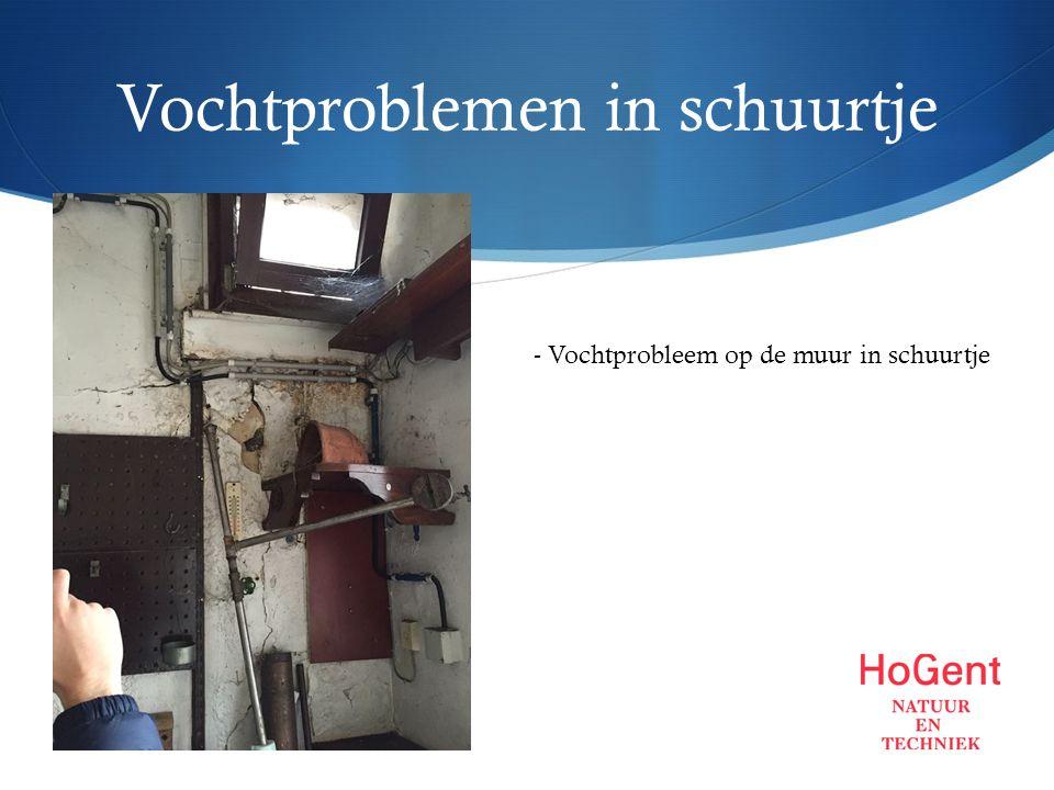 Vochtproblemen in schuurtje - Vochtprobleem op de muur in schuurtje