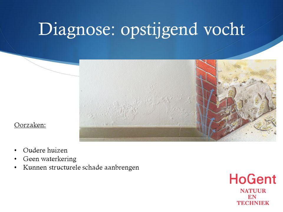 Diagnose: opstijgend vocht Oorzaken: Oudere huizen Geen waterkering Kunnen structurele schade aanbrengen