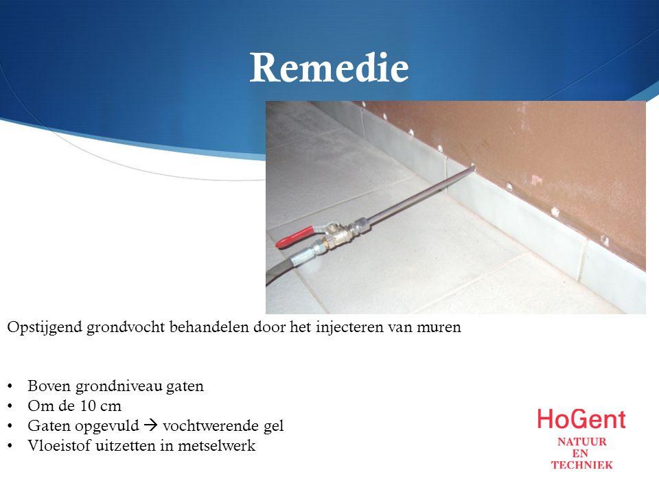 Remedie Opstijgend grondvocht behandelen door het injecteren van muren Boven grondniveau gaten Om de 10 cm Gaten opgevuld  vochtwerende gel Vloeistof