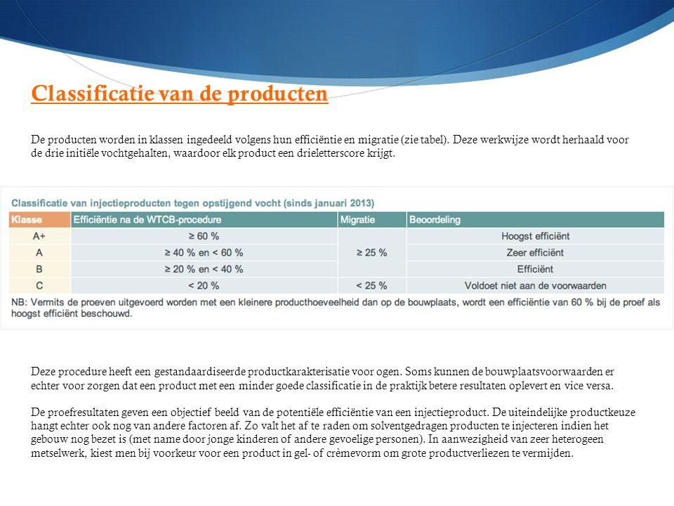 Classificatie van de producten De producten worden in klassen ingedeeld volgens hun efficiëntie en migratie (zie tabel). Deze werkwijze wordt herhaald