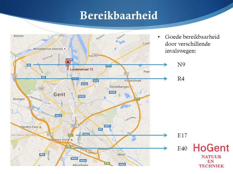Bereikbaarheid N9 R4 E17 E40 Goede bereikbaarheid door verschillende invalswegen: