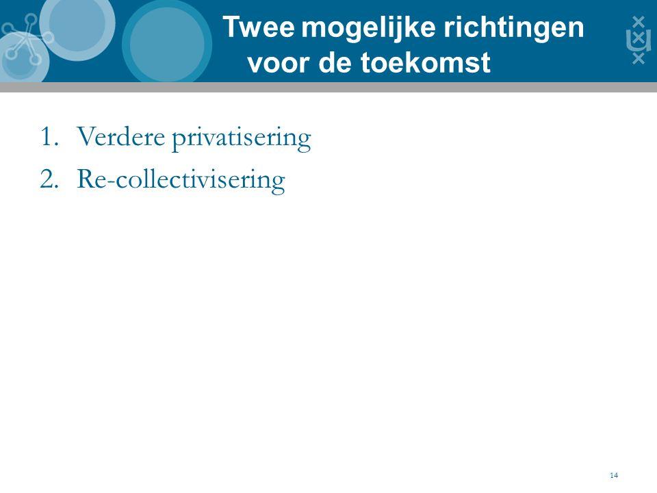 1.Verdere privatisering 2.Re-collectivisering Twee mogelijke richtingen voor de toekomst 14