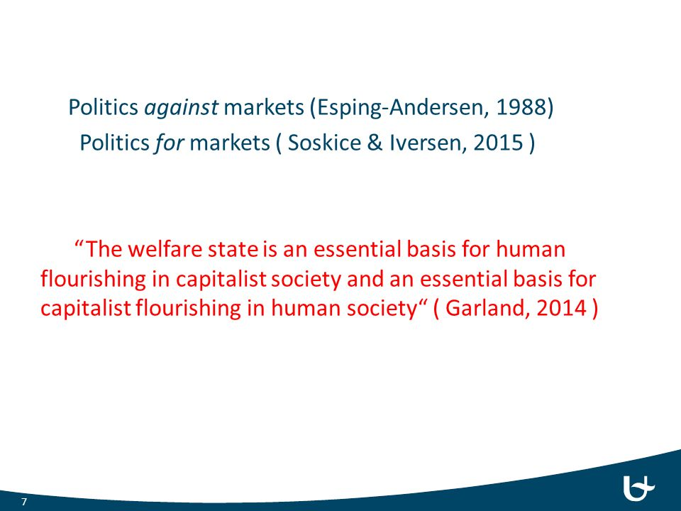 "Politics against markets (Esping-Andersen, 1988) Politics for markets ( Soskice & Iversen, 2015 ) ""The welfare state is an essential basis for human f"