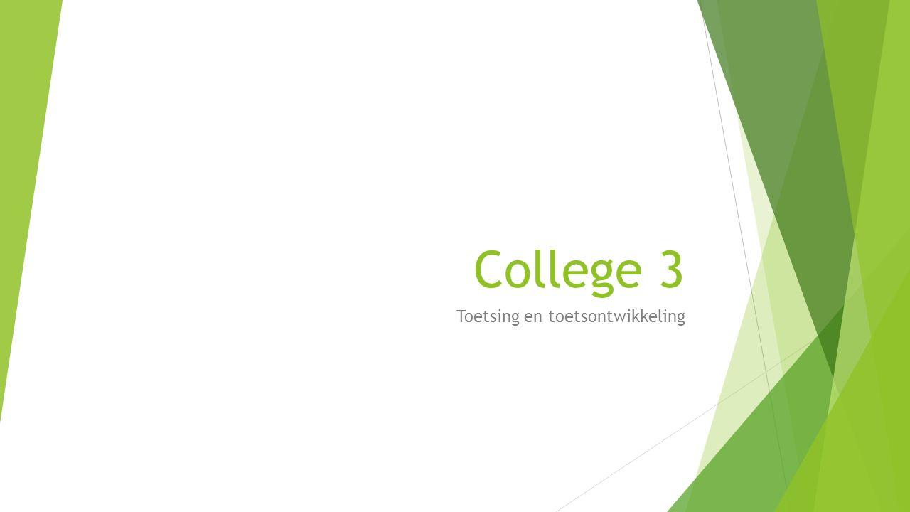 Definitie van leerdoelen Abstract Concreet Opleidingsdoel Leerdoel Concreet leerdoel/ toetsterm Inhoud Gedrag (minimum- prestatie en voorwaarden) Een beschrijving van de kennis en vaardigheden die een leerling zich in de opleiding eigen kan maken Inhoud Gedrag Een omschrijving van het gedrag dat een leerling moet laten zien om aan te tonen dat het gewenste leerresultaat is behaald Een met een minimumprestatie en voorwaarden specifiek concreet en eenduidig leerdoel Molkenboer, H.