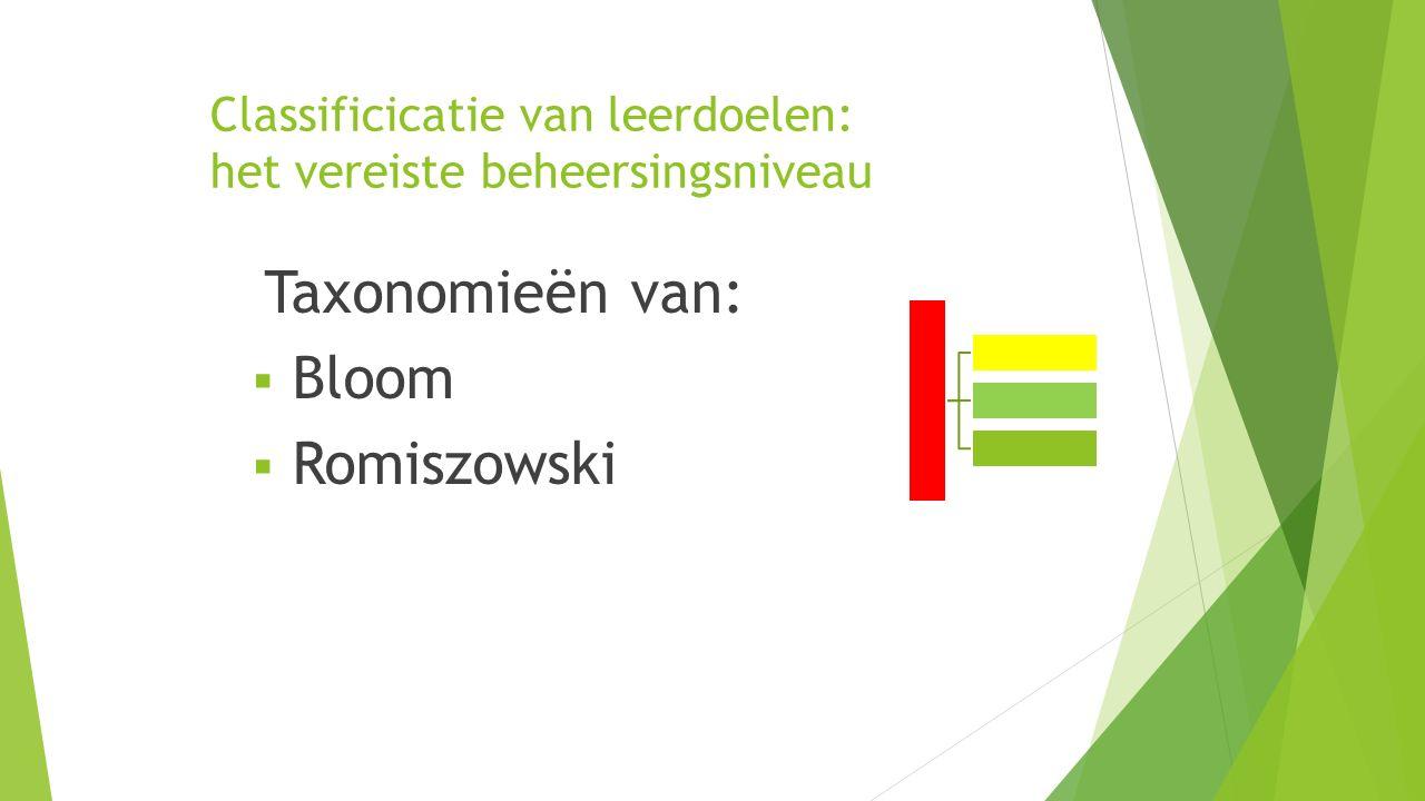 Classificicatie van leerdoelen: het vereiste beheersingsniveau Taxonomieën van:  Bloom  Romiszowski