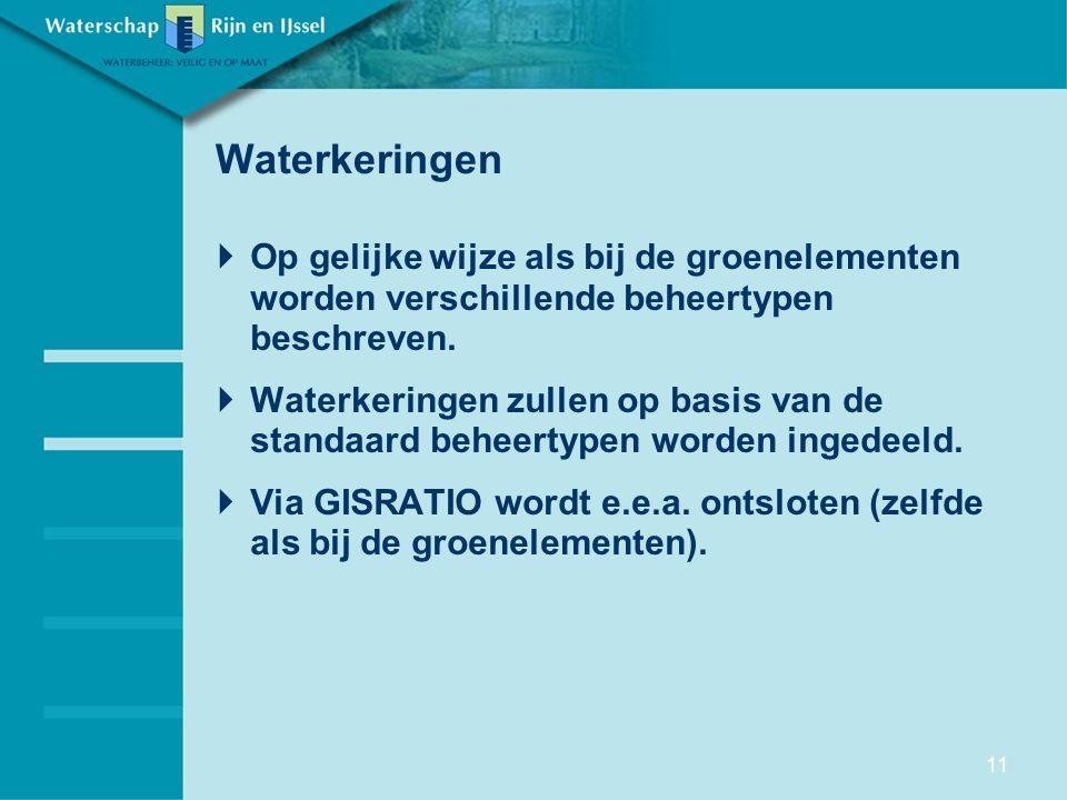 Waterkeringen  Op gelijke wijze als bij de groenelementen worden verschillende beheertypen beschreven.  Waterkeringen zullen op basis van de standaa
