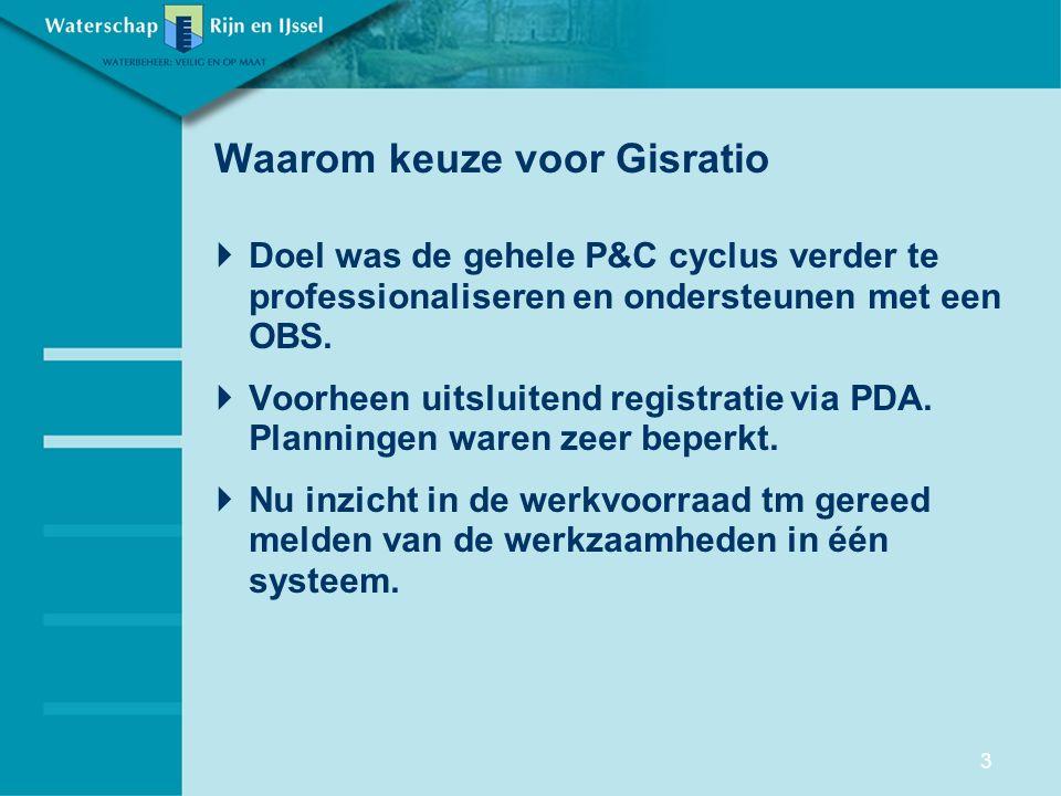 Waarom keuze voor Gisratio  Doel was de gehele P&C cyclus verder te professionaliseren en ondersteunen met een OBS.  Voorheen uitsluitend registrati