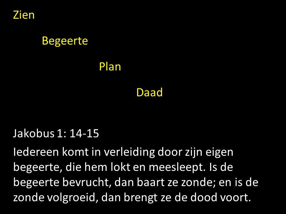 Zien Begeerte Plan Daad Jakobus 1: 14-15 Iedereen komt in verleiding door zijn eigen begeerte, die hem lokt en meesleept.