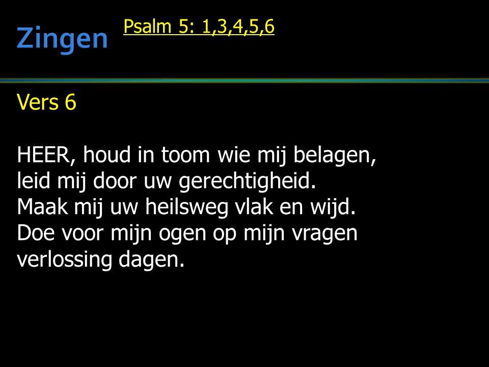 Vers 6 HEER, houd in toom wie mij belagen, leid mij door uw gerechtigheid.