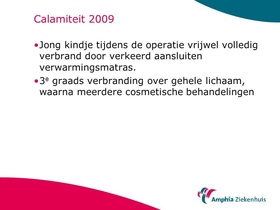 Calamiteit 2009 Jong kindje tijdens de operatie vrijwel volledig verbrand door verkeerd aansluiten verwarmingsmatras. 3 e graads verbranding over gehe