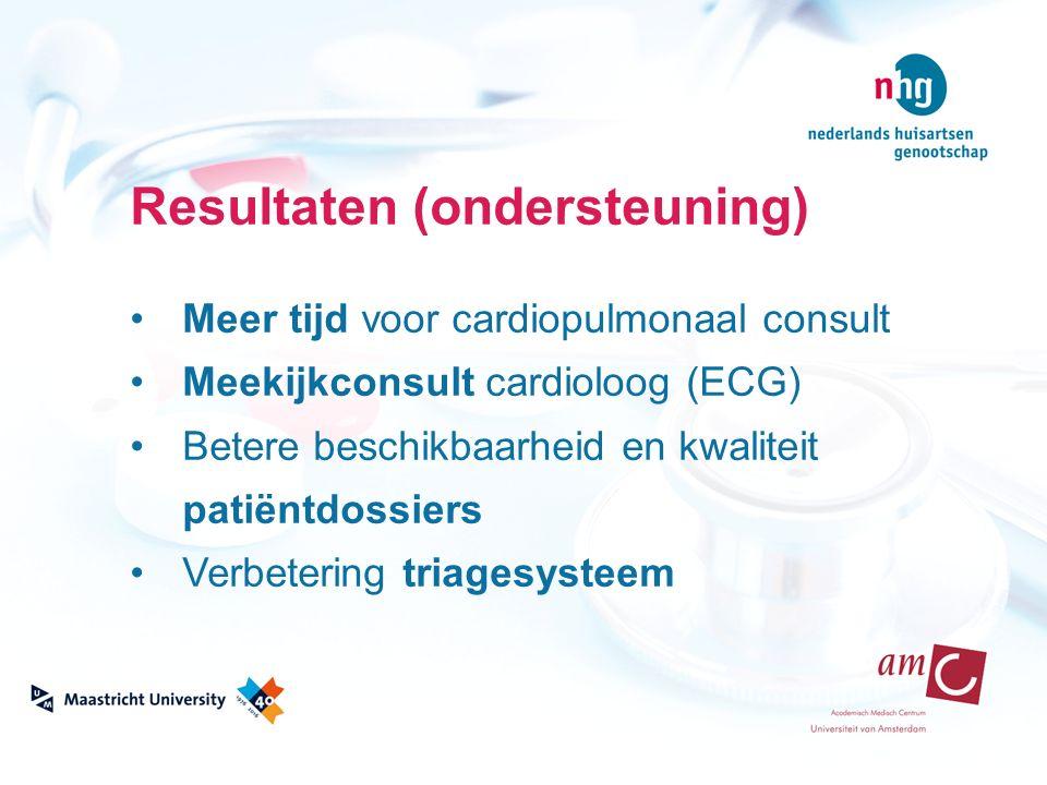 Resultaten (ondersteuning) Meer tijd voor cardiopulmonaal consult Meekijkconsult cardioloog (ECG) Betere beschikbaarheid en kwaliteit patiëntdossiers Verbetering triagesysteem