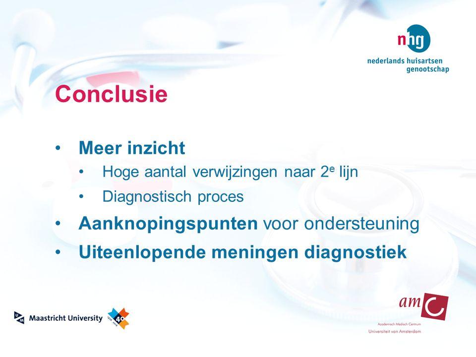 Conclusie Meer inzicht Hoge aantal verwijzingen naar 2 e lijn Diagnostisch proces Aanknopingspunten voor ondersteuning Uiteenlopende meningen diagnost