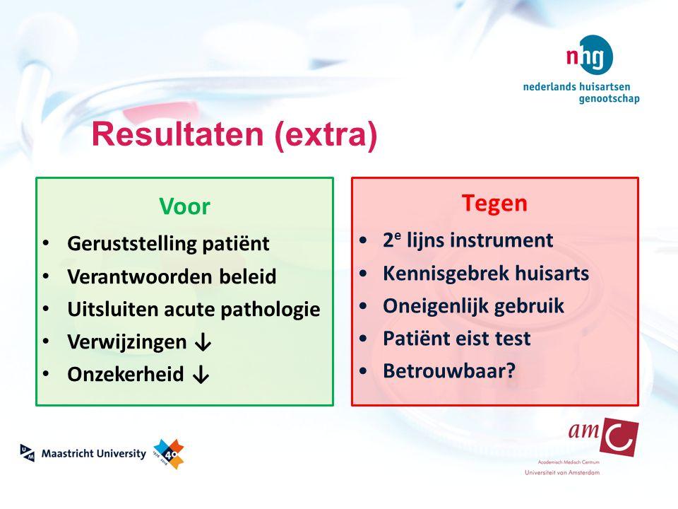 Resultaten (extra) Voor Geruststelling patiënt Verantwoorden beleid Uitsluiten acute pathologie Verwijzingen ↓ Onzekerheid ↓ Tegen 2 e lijns instrumen