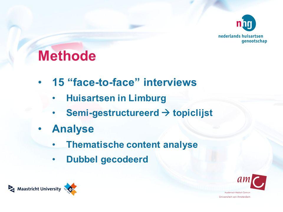 """Methode 15 """"face-to-face"""" interviews Huisartsen in Limburg Semi-gestructureerd  topiclijst Analyse Thematische content analyse Dubbel gecodeerd"""