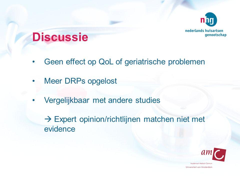 Discussie Geen effect op QoL of geriatrische problemen Meer DRPs opgelost Vergelijkbaar met andere studies  Expert opinion/richtlijnen matchen niet met evidence