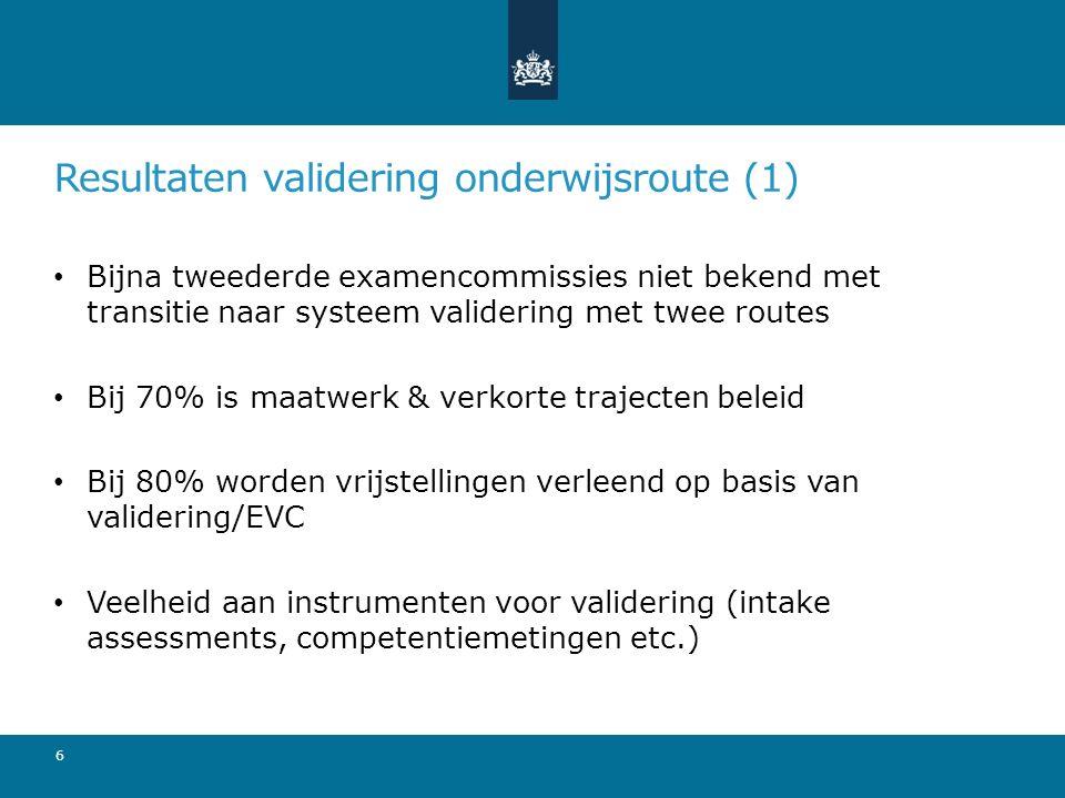 Resultaten validering onderwijsroute (2) Aanbod is in mbo breed (alle domeinen), in ho minder breed (met nadruk op sector Economie) 56% voert valideringsprocedures uit in eigen beheer Afspraken met EVC-aanbieders over ketensamenwerking: o mbo: 10 o ho: 1 7