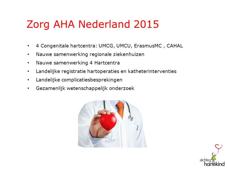 Zorg AHA Nederland 2015 4 Congenitale hartcentra: UMCG, UMCU, ErasmusMC, CAHAL Nauwe samenwerking regionale ziekenhuizen Nauwe samenwerking 4 Hartcentra Landelijke registratie hartoperaties en katheterinterventies Landelijke complicatiesbesprekingen Gezamenlijk wetenschappelijk onderzoek