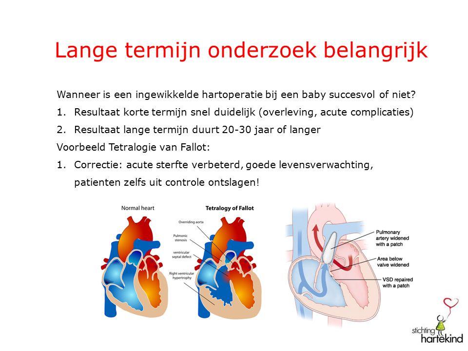 Lange termijn onderzoek belangrijk Tetralogie van Fallot Na 25-30 jaar kans op rechterkamerfalen en levensbedreigende hartritmestoornissen Onderzoek naar oorzaken: Langdurig veel lekkage longslagaderklep (rechterkamerfalen) Littekens in de rechterkamer (ritmestoornissen) Verbeterde overleving en levenskwaliteit door: Implanteren longslagaderklep (biologische klep ) Ritmestoornisgebieden tijdig opsporen en behandelen (katheterablatie)