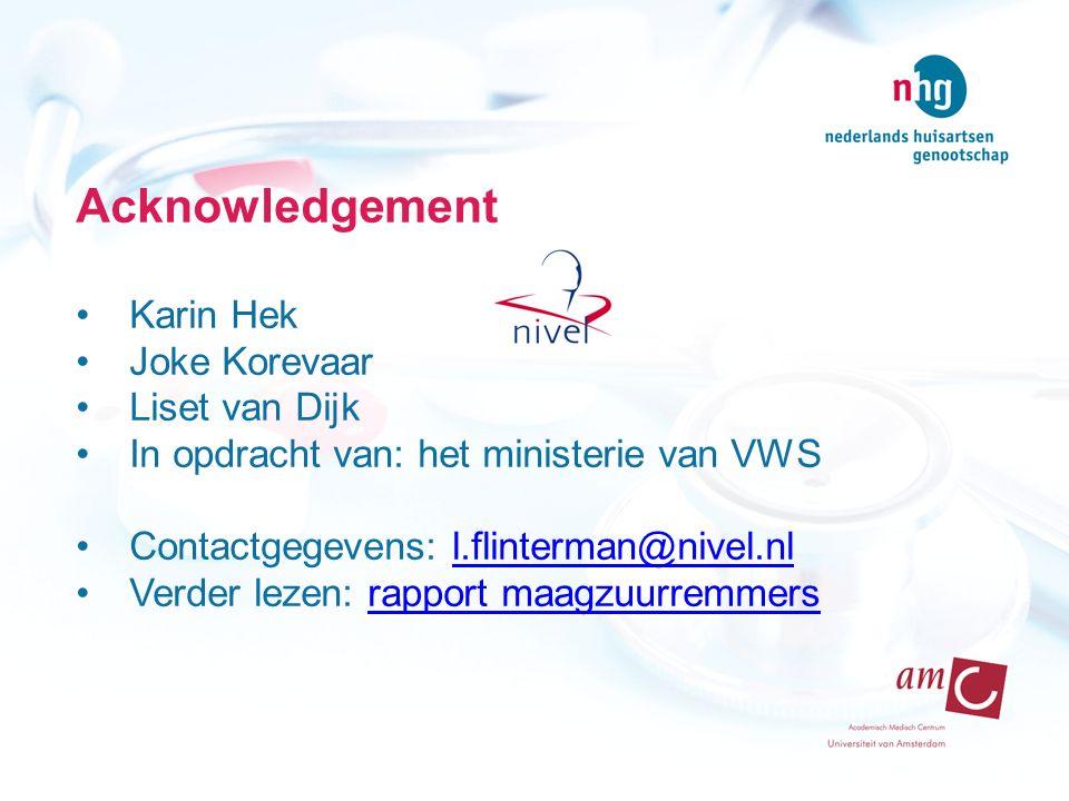 Acknowledgement Karin Hek Joke Korevaar Liset van Dijk In opdracht van: het ministerie van VWS Contactgegevens: l.flinterman@nivel.nll.flinterman@nivel.nl Verder lezen: rapport maagzuurremmersrapport maagzuurremmers
