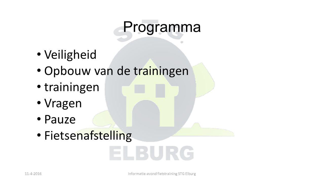 Programma Veiligheid Opbouw van de trainingen trainingen Vragen Pauze Fietsenafstelling 11-4-2016Informatie-avond fietstraining STG Elburg