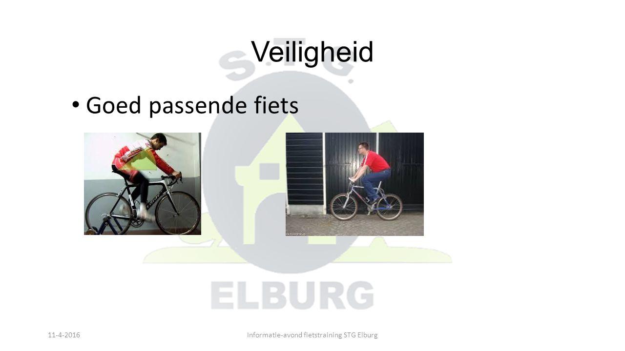 Veiligheid Goed passende fiets 11-4-2016Informatie-avond fietstraining STG Elburg