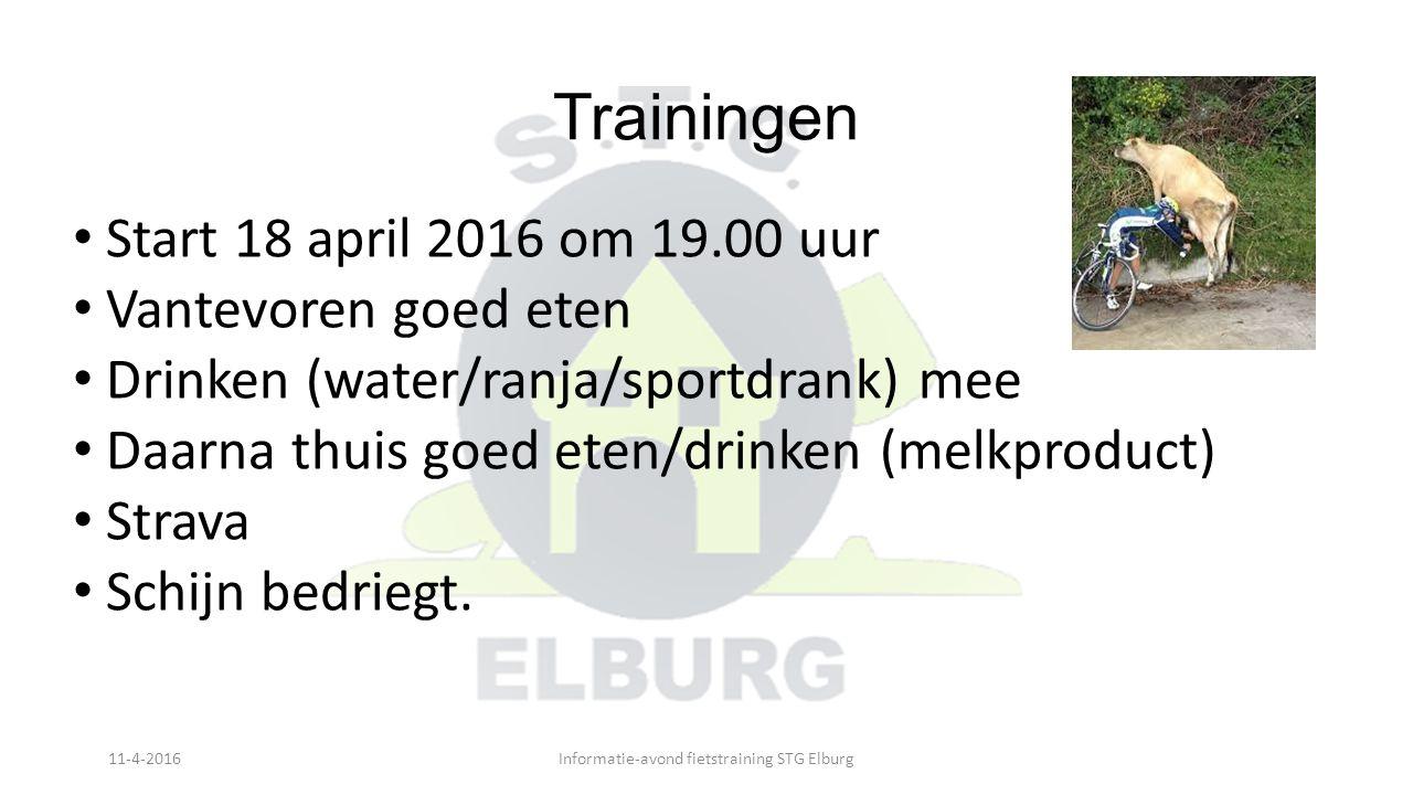Trainingen Start 18 april 2016 om 19.00 uur Vantevoren goed eten Drinken (water/ranja/sportdrank) mee Daarna thuis goed eten/drinken (melkproduct) Str