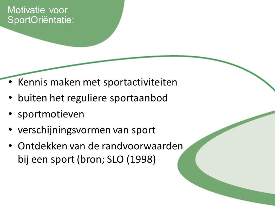 Kennis maken met sportactiviteiten buiten het reguliere sportaanbod sportmotieven verschijningsvormen van sport Ontdekken van de randvoorwaarden bij een sport (bron; SLO (1998) Motivatie voor SportOriëntatie: