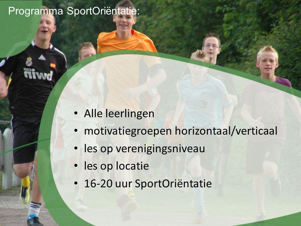 Programma SportOriëntatie: Alle leerlingen motivatiegroepen horizontaal/verticaal les op verenigingsniveau les op locatie 16-20 uur SportOriëntatie