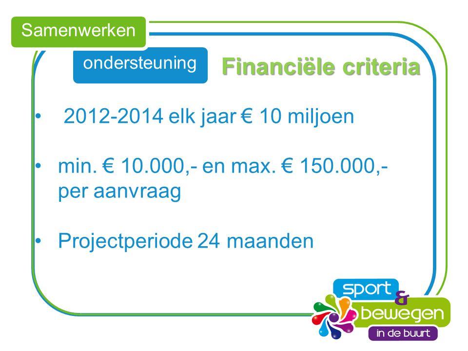 ondersteuning Samenwerken Financiële criteria 2012-2014 elk jaar € 10 miljoen min.