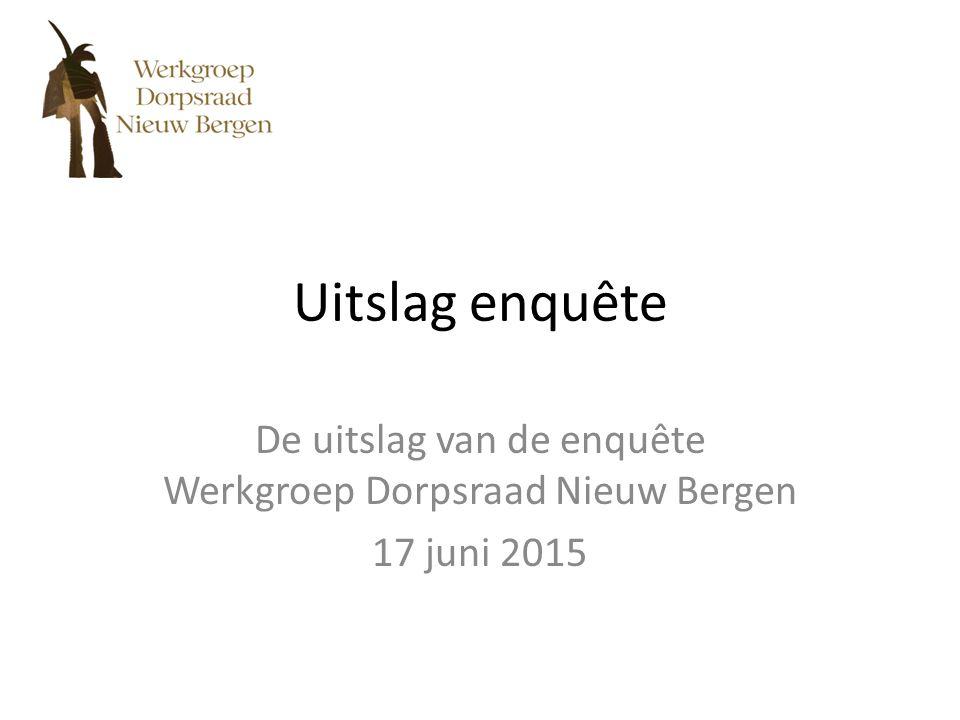 Uitslag enquête De uitslag van de enquête Werkgroep Dorpsraad Nieuw Bergen 17 juni 2015