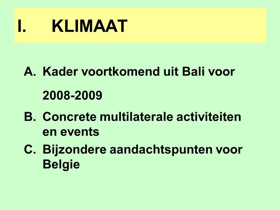 A.De Bali roadmap 1.Kyoto Track Bali roadmap:ad hoc working group further commitments annex I Reeds gecreëerd eind 2006 + werkprogramma toen vastgelegd Viseert nieuwe doelstellingen voor industrielanden Conclusies o.a.
