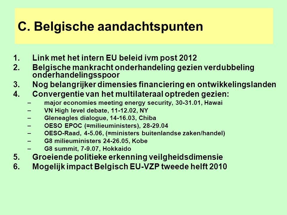 C. Belgische aandachtspunten 1.Link met het intern EU beleid ivm post 2012 2.Belgische mankracht onderhandeling gezien verdubbeling onderhandelingsspo