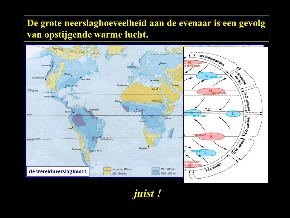 De grote neerslaghoeveelheid aan de evenaar is een gevolg van opstijgende warme lucht.