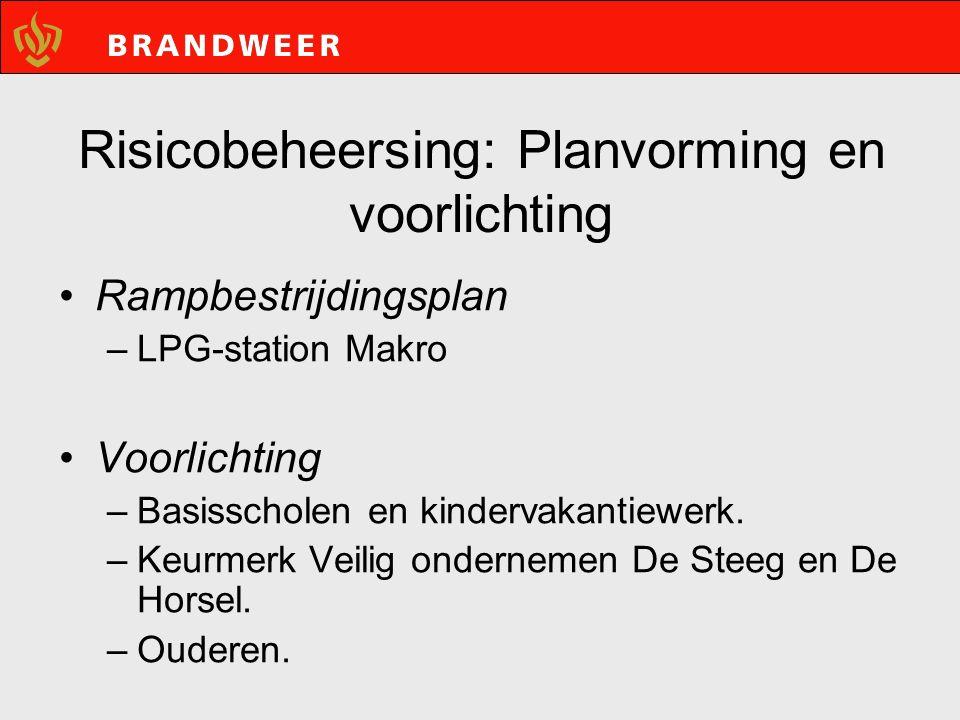 Risicobeheersing: Planvorming en voorlichting Rampbestrijdingsplan –LPG-station Makro Voorlichting –Basisscholen en kindervakantiewerk.