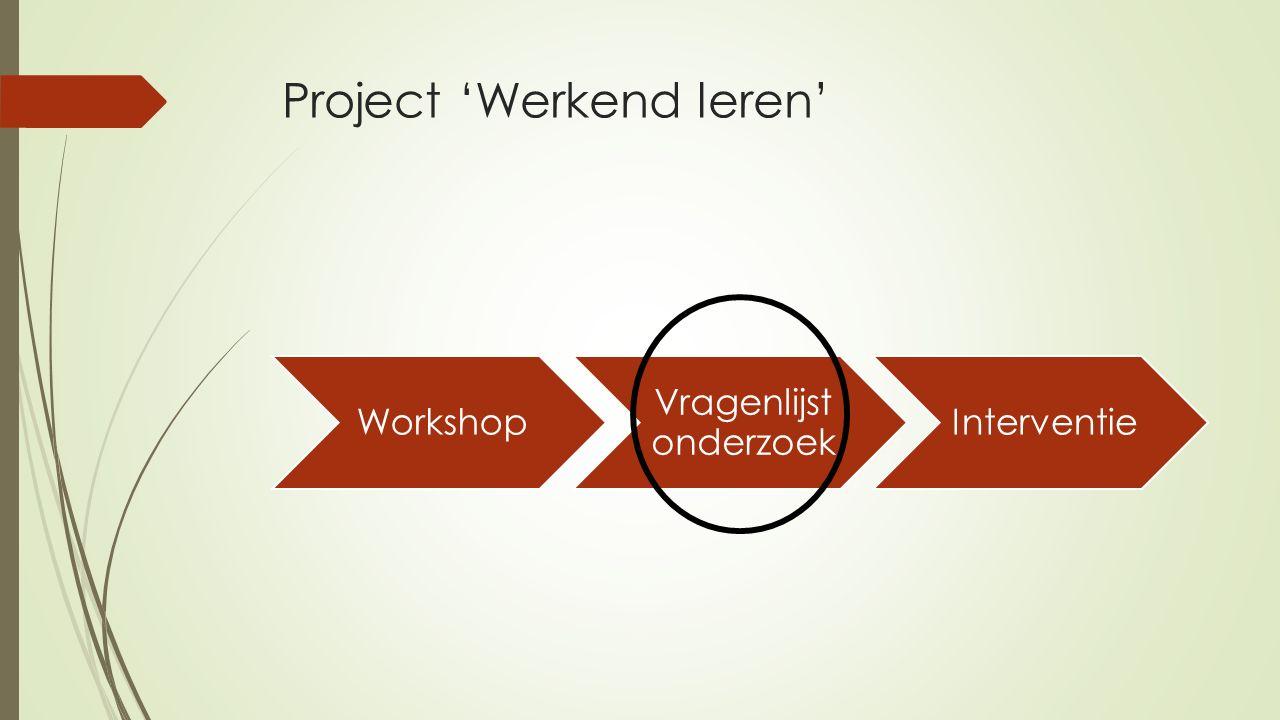 Project 'Werkend leren' Workshop Vragenlijst onderzoek Interventie