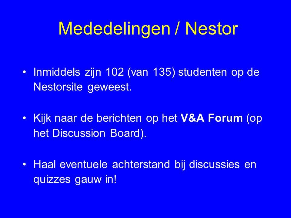 Mededelingen / Nestor Inmiddels zijn 102 (van 135) studenten op de Nestorsite geweest. Kijk naar de berichten op het V&A Forum (op het Discussion Boar