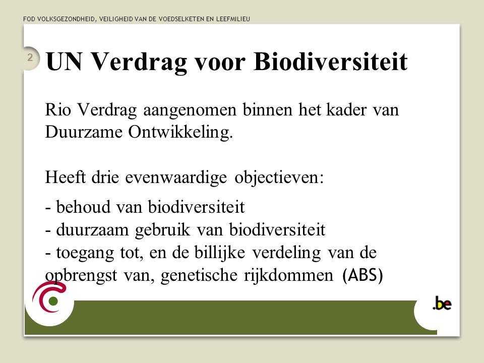 FOD VOLKSGEZONDHEID, VEILIGHEID VAN DE VOEDSELKETEN EN LEEFMILIEU 2 UN Verdrag voor Biodiversiteit Rio Verdrag aangenomen binnen het kader van Duurzam