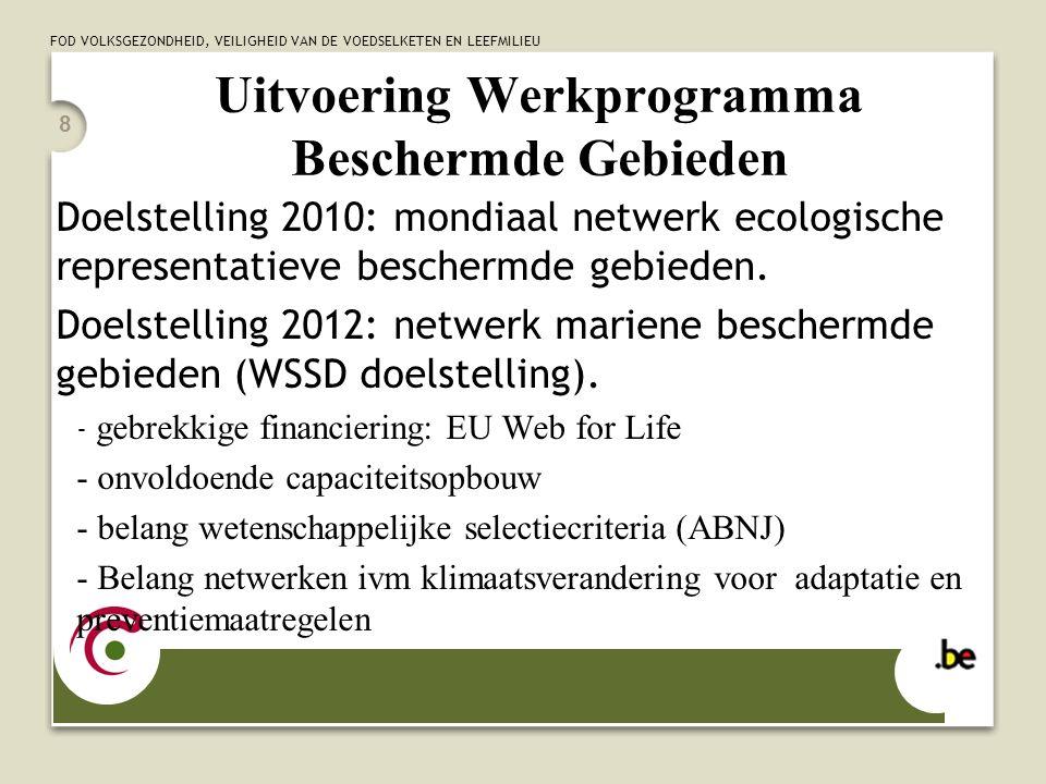 FOD VOLKSGEZONDHEID, VEILIGHEID VAN DE VOEDSELKETEN EN LEEFMILIEU 9 Uitvoering Strategisch Plan VDB COP6: significant reduction of the current rate of loss of biodiversity by 2010 Biodiversiteitsdoelstelling VDB Strategisch Plan COP9: laatste COP voor 2010: - evaluatie vorderingen tov de 2010 doelstelling, in het bijzonder de nationale biodiversiteitsstrategien en actieplannen - proces in gang zetten ivm evaluatie 2010 doelstelling op COP10 alsook mogelijke na 2010.